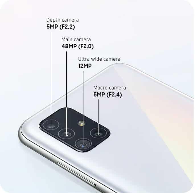 Câmeras do Samsung Galaxy A51