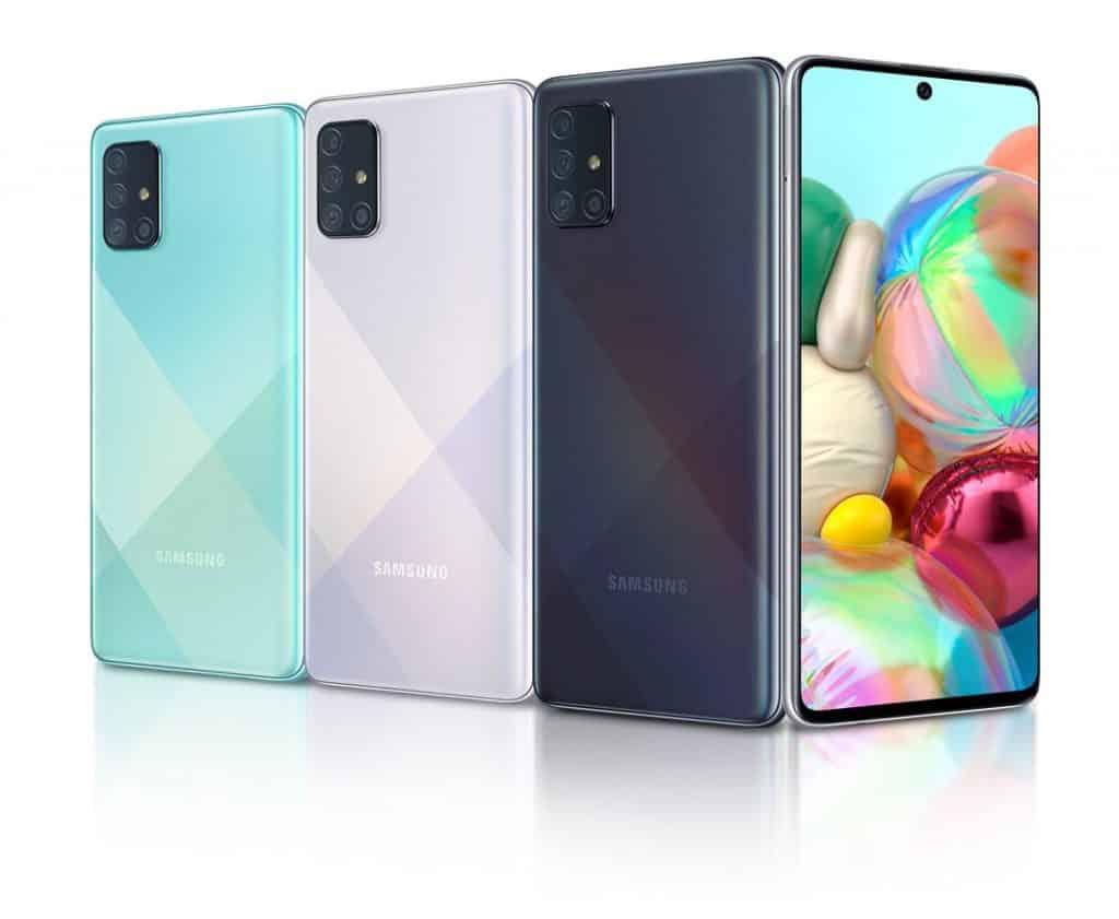Design e cores do Galaxy A71