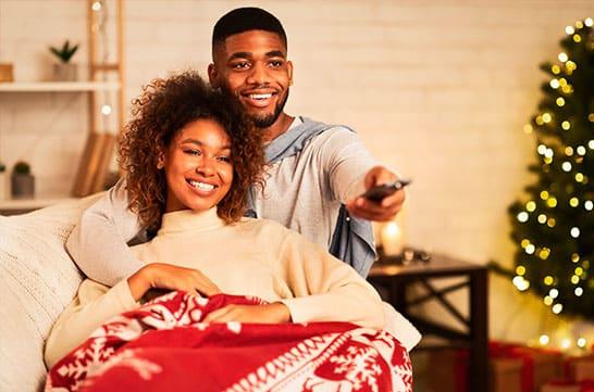 Cinema na sala de casa com smart TV